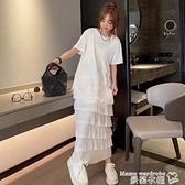 蕾絲洋裝 歐洲站2021春夏新款時尚蕾絲拼接純色寬鬆連身裙韓版洋氣蛋糕長裙【618 購物】