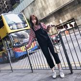 吊帶褲 秋季套裝女韓版新款寬鬆學生吊帶高腰九分背帶褲 顯瘦襯衣兩件套