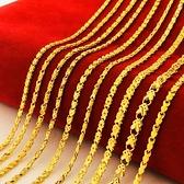 流行四葉草小魚短女鎖骨鍊越南沙金24k鍍金假黃金倒模項鍊不掉色