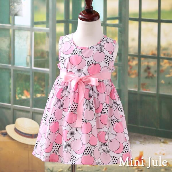 Mini Jule 女童 洋裝 滿版櫻桃點點印花綁帶無袖洋裝(粉)