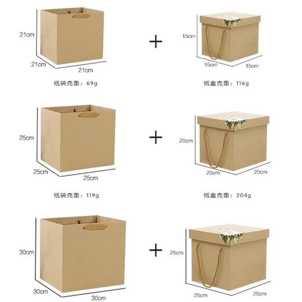永生花玻璃罩DIY包裝禮盒,牛皮紙盒 (聖誕帽款含紙袋),25*25*25cm