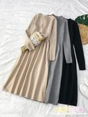 洋裙 很仙的連衣裙長裙春季法式田園風復古連衣裙氣質少女打底裙毛衣裙【店慶88折】