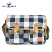 【COLORSMITH】CC・方形斜背包-藍灰格紋・CC1265-GB