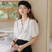 娃娃領短袖雪紡襯衫女夏2021新款韓版設計感小眾泡泡袖上衣