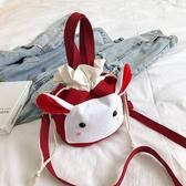 可愛包包女搞怪帆布包抽帶水桶包日系簡約斜背包【小柠檬3C】