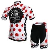 自行車衣-(短袖套裝)-時尚帥氣點點舒適男單車服套裝73er53【時尚巴黎】