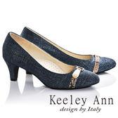 ★零碼出清★Keeley Ann甜美牛仔~皮帶飾釦OL全真皮中跟鞋(藍色)