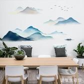 壁貼中國風墻貼畫臥室房間自粘墻紙客廳電視背景墻面裝飾海報墻畫壁紙DC2262【歐爸生活館】