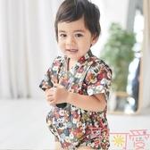 男女寶寶復古日本和服浴衣包屁衣衣服和尚服連體衣夏綁帶【聚可愛】