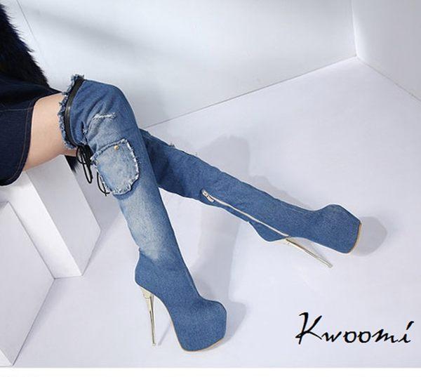 過膝長靴 單寧時尚側邊小口袋金色細跟 高跟長靴*Kwoomi-A102