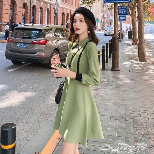 針織洋裝針織小黑裙女赫本風內搭修身氣質小香風秋裝2021年新款連身裙顯瘦 雲朵走走