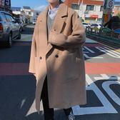 2018冬季韓版毛呢子中長款大衣學生寬鬆男士刺繡潮牌日系風衣外套