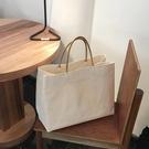 帆布包 2021韓國東大門同款簡約大容量帆布包ins爆款購物包手提包女大包 歐歐