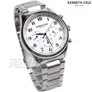 Kenneth Cole 紳士經典 三眼多功能 計時碼表 男錶 白色 不銹鋼帶 KC51024001