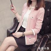 針織外套 針織開衫新款韓版鏤空慵懶風可愛毛衣女甜美短外套女OB3339『毛菇小象』
