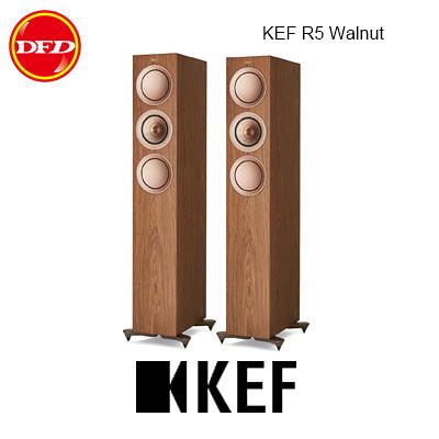 英國 KEF R5 Walnut 小型三路分音座地揚聲器 Uni-Q 同軸共點單元 胡桃木 台灣公司貨