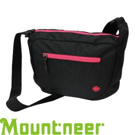 【Mountneer 山林 多功能實用側肩袋 黑/深玫紅】11EC05/側背包/ 斜背包★滿額送