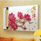 G29款電箱簡約現代壁畫帶鐘錶可推拉遮擋電錶箱裝飾畫【50*40(內徑40*30)】
