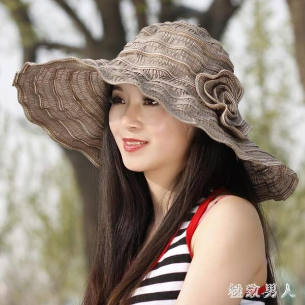 沙灘帽 遮陽帽女防曬遮臉出游百搭夏防紫外線可折疊沙灘帽女士太陽帽涼帽TA1427【極致男人】