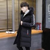 外套羽絨服男中長版冬季正韓個性連帽潮冬裝男士棉服毛領長款棉衣 1件免運