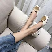 低跟鞋 春秋新款粗跟低跟單鞋方頭女淺口矮跟漆皮學生韓版百搭CHIC