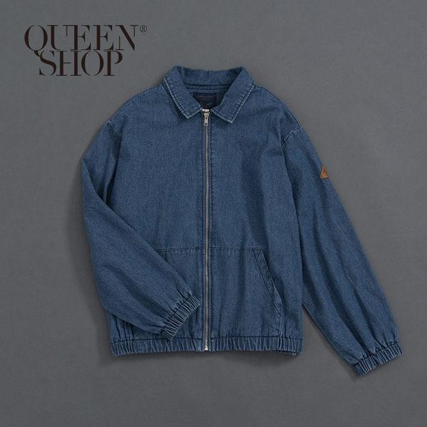 Queen Shop【02050249】口袋拉鍊設計牛仔外套 1/2*現+預*