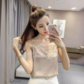 細肩帶背心夏季新款韓版性感寬鬆大碼蕾絲小女打底短款內搭上衣【全館滿一元八五折】
