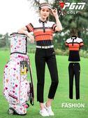 2019新品 高爾夫服裝 女士運動套裝 夏季短袖女裝 長褲 牛奶絲T恤