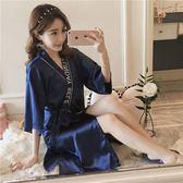 睡裙女夏天新款單件絲質薄款寬鬆情趣性感冰絲絲綢睡袍系帶浴衣潮DSHY