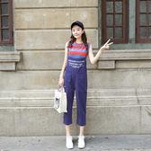 VK精品服飾 韓系小清新彩條紋上衣配背帶褲套裝無袖褲裝