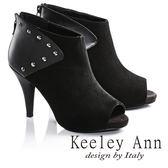 網路平台獨家6折★零碼出清★Keeley Ann鉚釘龐克羊麂皮高跟露趾羅馬涼鞋(黑)-Ann系列