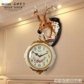 歐美式復古雙面掛鐘客廳鐘表創意個性鹿頭裝飾壁掛件大號靜音掛表  居家物語