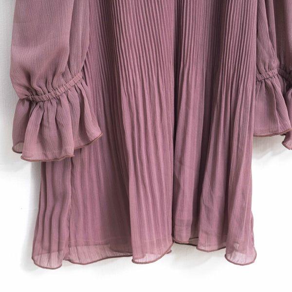 秋冬單一價[H2O]肩帶可調節壓褶顯瘦雪紡上衣 - 深藍/白/灰紫色 #8655003
