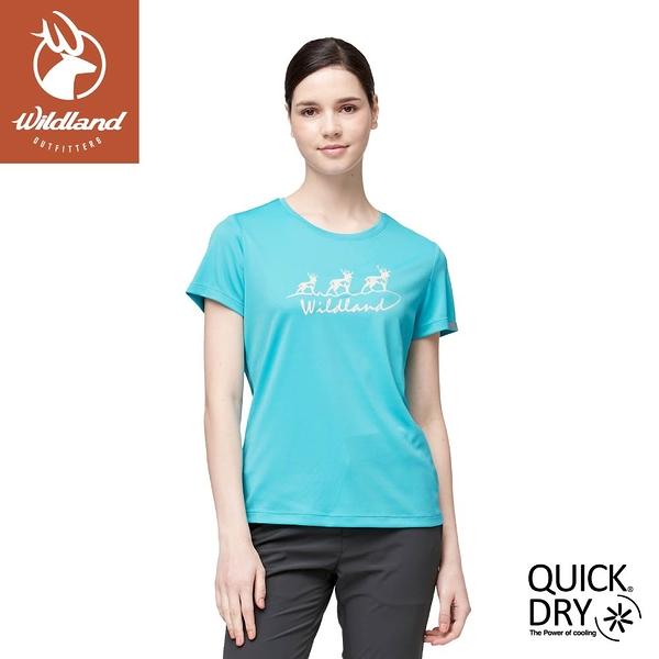 【Wildland 荒野 女 椰碳紗抗菌抗UV圓領衣《冰河藍》】0A91627/短袖/圓領T/運動衣/休閒衫