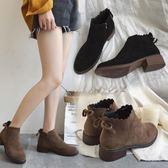 秋冬短筒女靴秋季新款后繫帶歐美英倫時尚絨面圓頭低跟方跟馬丁靴 聖誕交換禮物