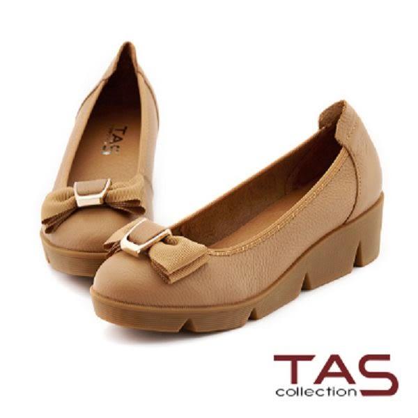TAS 雙層蝴蝶結荔枝牛皮楔型娃娃鞋-深卡其