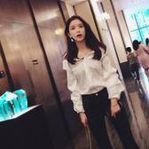 吊帶白色襯衫女2018春裝新款韓版一字肩chic長袖上衣襯 生日禮物