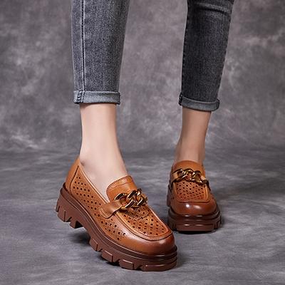 厚底透氣休閒鞋 真皮手工女鞋 套腳增高鞋女/3色-夢想家-標準碼-0409