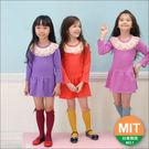 俏麗蕾絲領厚款純棉長袖洋裝(俏麗桃紅、亮麗橘色、時尚紫色)