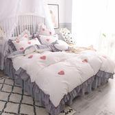 床上四件套純棉全棉公主風少女心床裙床罩水洗棉超柔裸睡1.8米【小梨雜貨鋪】