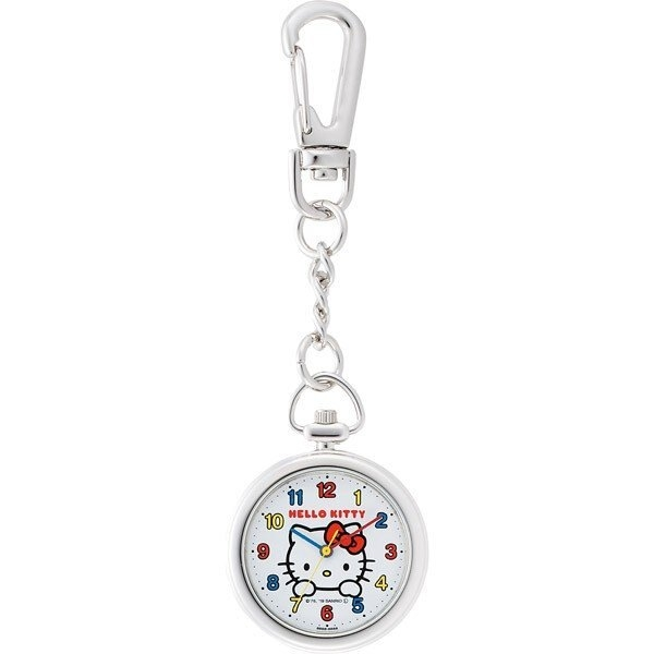 〔小禮堂〕Hello Kitty 金屬圓形懷錶吊飾《紅白.大臉》鑰匙圈錶.掛飾 4966006-07346