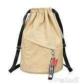 束口包帆布束口袋健身大容量抽繩後背包學生書包女新款背包男旅行運動包  雲朵 上新