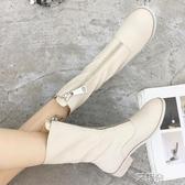 短靴真皮前拉練單靴女春秋百搭平底靴子中筒靴瘦瘦短靴    雙12