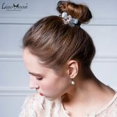 韓式發飾蛋白石皮筋發繩頭花飾品甜美頭