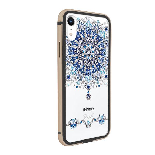 apbs iPhone XR 6.1吋施華彩鑽鋁合金屬框手機殼-黑金色冰雪情緣