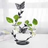 創意歐式鐵藝蠟燭台燭光晚餐水培花瓶綠蘿植物玻璃花器擺件飾品wy
