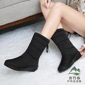 雪地靴女冬季保暖中筒防滑防水靴加絨加厚百搭棉靴【步行者戶外生活館】