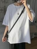 短袖T恤@港仔文藝男 夏季素色寬鬆潮流短袖T恤韓版男生情侶百搭打底衫潮 JUST M