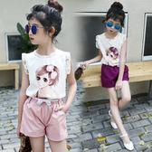 618好康又一發女童短褲套裝2018新款中大童蕾絲無袖兒童夏裝女孩卡通薄款兩件套