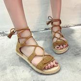 韓版時尚羅馬涼鞋休閒鞋交叉綁帶平底鞋繫帶女鞋